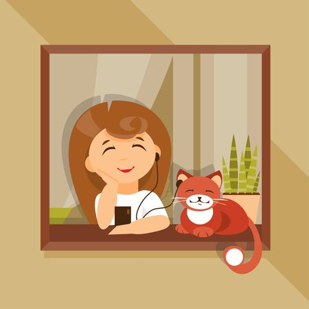 beautiful homes: Girl and cat together sit near the window and listen to music. Relaxation. Friendship Illustration