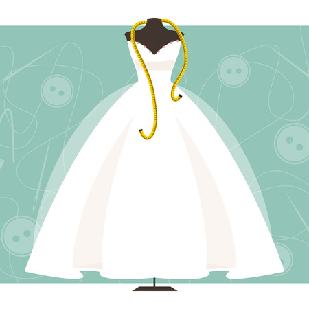 wedding dress: Dummy with wedding dress and centimeter on sewing background Illustration