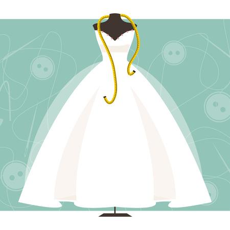 Mannequin avec robe de mariée et centimètre sur la couture arrière-plan