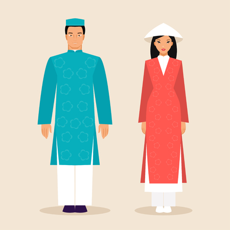 primordial: Man and woman in traditional costumes of Vietnam. illustration, flat style