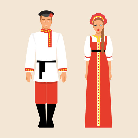 Russian men and women in traditional costumes and headdresses Illustration