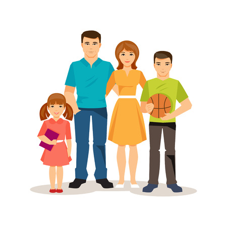 dad son: Friendly family. Mom and dad, teenage son, preschool daughter Illustration