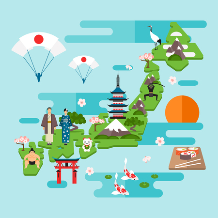 Tourist infographics about Japan. National symbols, national costumes. Famous attractions