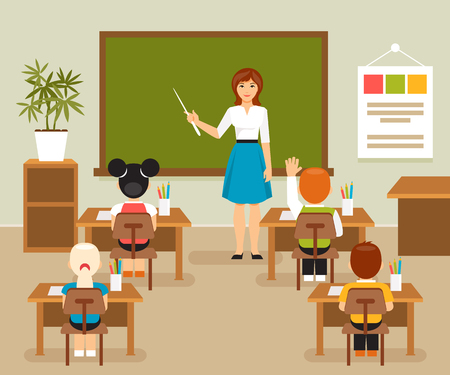School lesson with the teacher at the blackboard. Classroom. Children at a school desk. illustration, flat style Vettoriali
