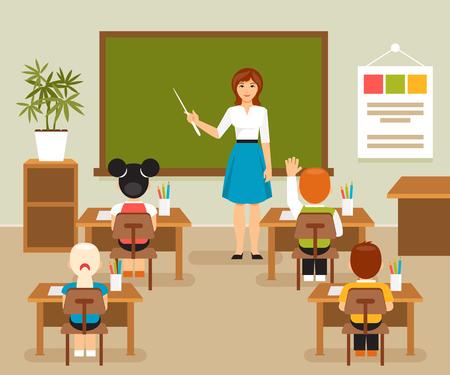 School lesson with the teacher at the blackboard. Classroom. Children at a school desk. illustration, flat style Stock Illustratie