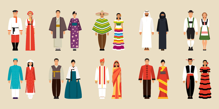 Big set of national costumes. Russian and Japanese, Chinese and Korean, Mexican and Spanish and Arabic, German, Indian and Vietnamese traditional costumes