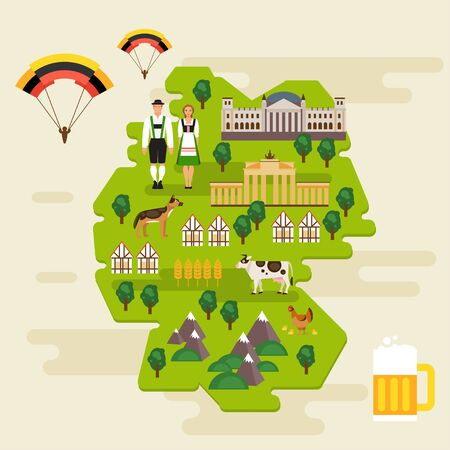 Travel concept in Germany. National costumes, national symbols. Famous attractions. Vector infographics, flat style