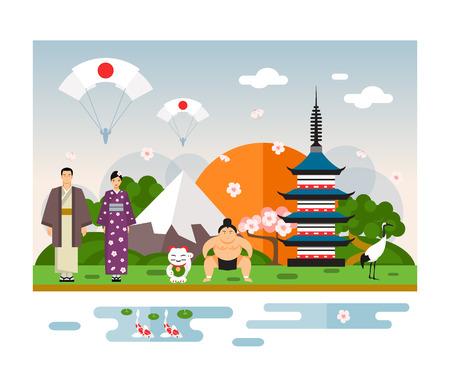 travel japan: Famous Landmarks and national symbol of Japan. Vector Illustration Illustration