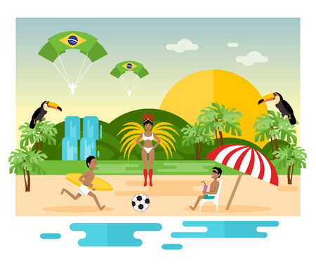landmark: Travel concept Brazil. National culture. Vector illustration