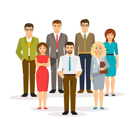 Office women: Group office men and women. The concept of teamwork. Vector illustration in a flat style