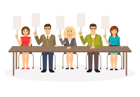 jurado: Ilustración de un grupo de jueces con tabletas. Jurado. Plantilla en blanco para el texto