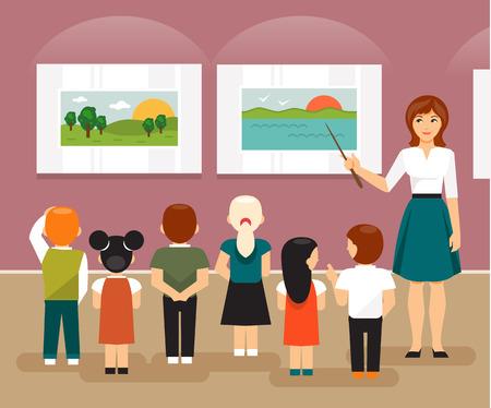 Jonge kinderen en de leraar op een excursie naar een museum op zoek naar foto's