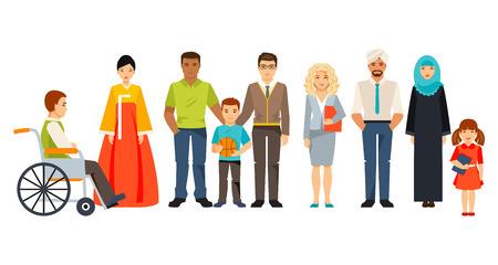多文化社会の概念。異なる人々 のグループ。社会グループ。地域の方々  イラスト・ベクター素材