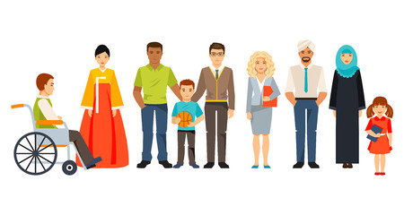 The concept of a multicultural society. Group of different people. Social Groups. Community people Illustration