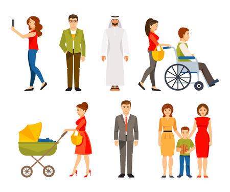 persona caminando: La gente en diferentes situaciones. Estilo de vida. El concepto de una sociedad multicultural Vectores