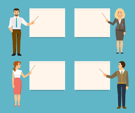 provide: Set of business coaches. Teachers provide training or presentation standing at whiteboard