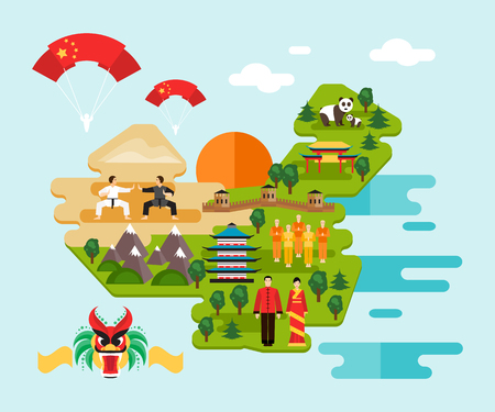 Tourist infographics about China. National symbols, national costumes. Famous attractions. Welcome to China Illustration