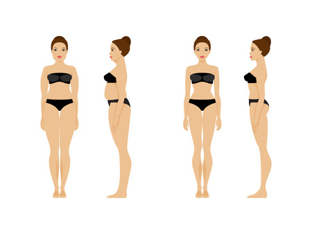 Woman with overweight and slender woman. Before and after. Diet and fitness. Healthy lifestyle Illustration