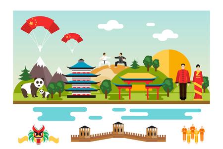 Famous Landmarks and national symbol of China.  Illustration