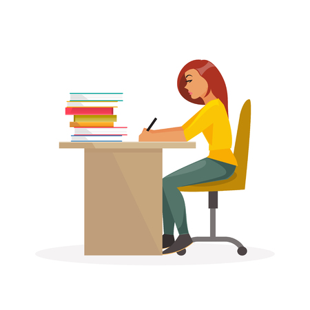college girl: Girl student sitting at a desk and writing. Education, college, school