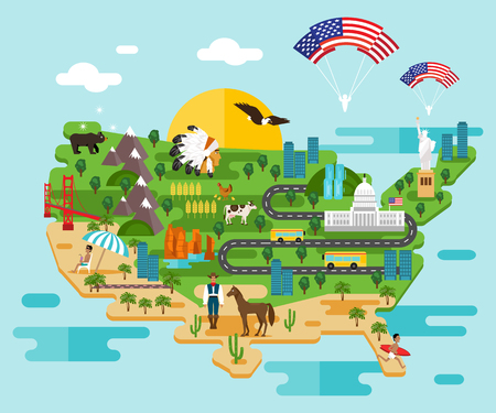 Tourist infographics about America. National symbols. Famous attractions. Welcome to the USA Vettoriali