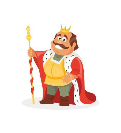 scepter: Cheerful cartoon king on a white background. Fairy tale illustration