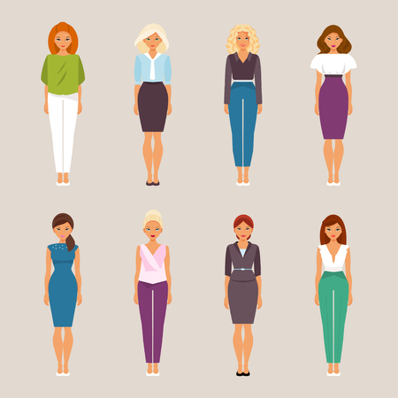 Set of woman in fashionable office clothes. Vector illustration