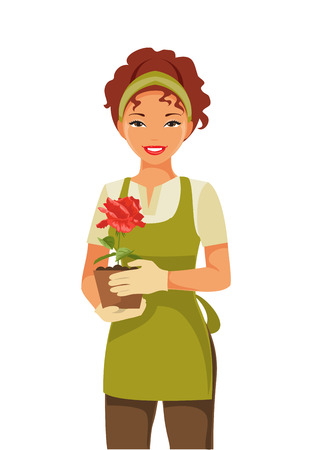 Young woman gardener holding a pot of roses in hands Illustration