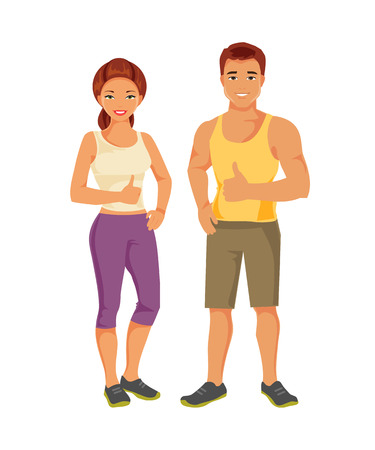 trainers: Young man and woman in sportswear. Healthy and happy people Illustration