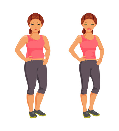 change size: Before and after weight loss. Fat and slim woman. A healthy lifestyle