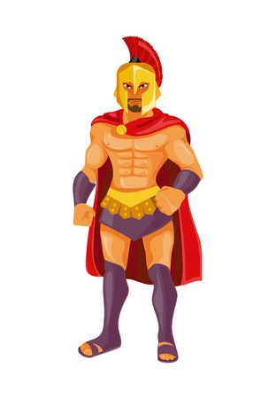 Strong Spartan warrior. Vector illustration Illustration