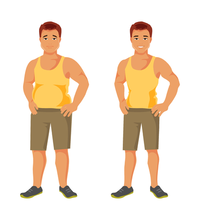 Man before and after sports. Healthy lifestyle. Diet and sport. Fitness. Vector illustration Illustration