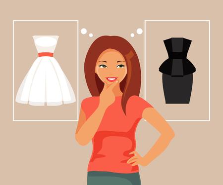 La giovane ragazza alla moda fa la scelta del vestito. Illustrazione vettoriale