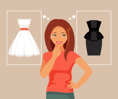 Young fashionable girl makes the choice of dress. Vector illustration