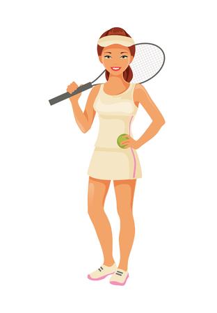 De jonge speler van het meisjestennis met racket die op witte achtergrond wordt geïsoleerd. Individuele sport. Vector illustratie Vector Illustratie