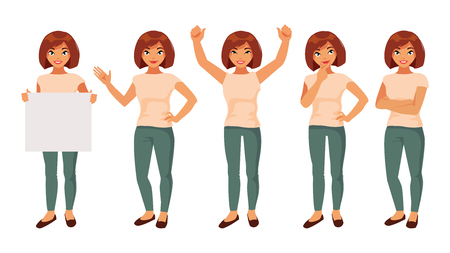Collection of girls in different poses and with different gestures. Vector illustration