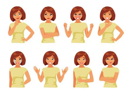 persona pensando: Colección de chica con diferentes emociones sobre fondo blanco Vectores