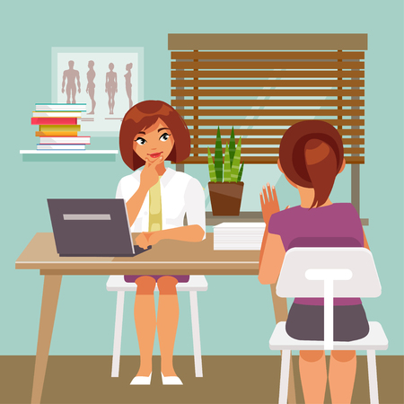 Woman doctor is taking patients. The medical office. Vector illustration Illustration