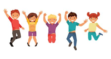 Group of happy jumping kids isolated on white background Illustration