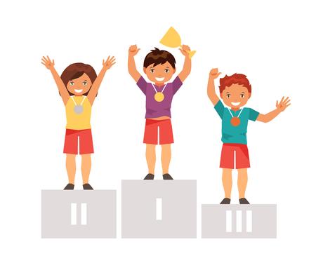 Kinderwinnaars staan op het podium met de prijsbeker en medailles. Kinderen individuele sport. Een gezonde manier van leven. Vector illustratie