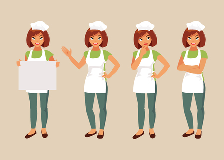 different thinking: Collection female chef in various poses. Vector illustration