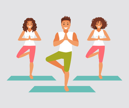 flexibility: Group of people in yoga class. Tree pose, relaxation. Vector illustration Illustration