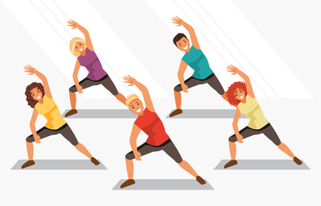 aerobics class: Group of people is engaged in aerobics in the gym. Fitness and weight loss. Healthy lifestyle. Vector illustration Illustration