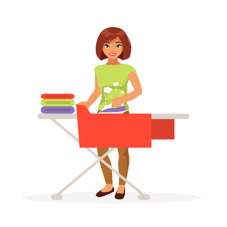 Happy woman housewife stroking underwear. Household. Vector illustration