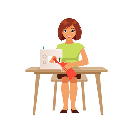 Young woman housewife at the sewing machine. Hobbies and homemaking. Vector illustration