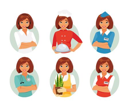 다른 여성 직업의 집합입니다. 전문가 콜 센터, 요리사, 스튜 어디 스, 의사, 정원사, 세일즈맨 벡터 일러스트 레이 션