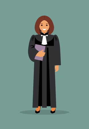 Woman judge with the case in hand. The law and justice. Vector illustration Illustration