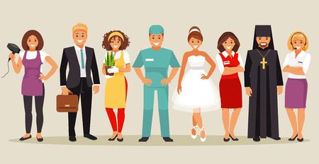 Conjunto de personas con diferentes profesiones. Parte 2. Ilustración vectorial