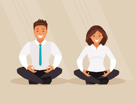 Business man and business woman meditate in lotus position. Vector illustration Illustration