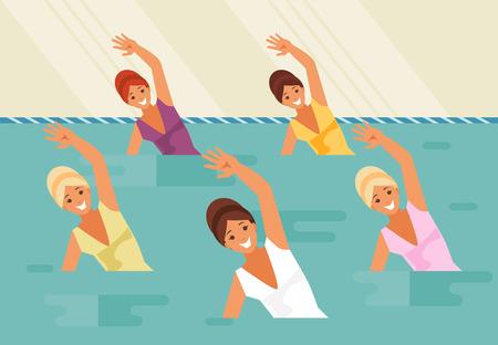 女性アスリートのグループ。同期の水泳、水のエアロビクス。ベクトル図
